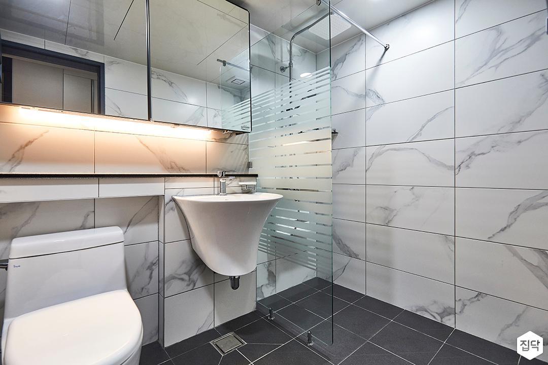 화이트,모던,욕실,세면대,간접조명