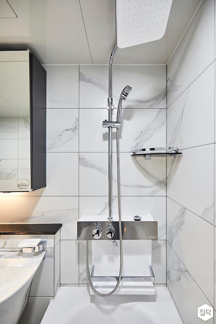 화이트,모던,욕실,샤워기,욕조