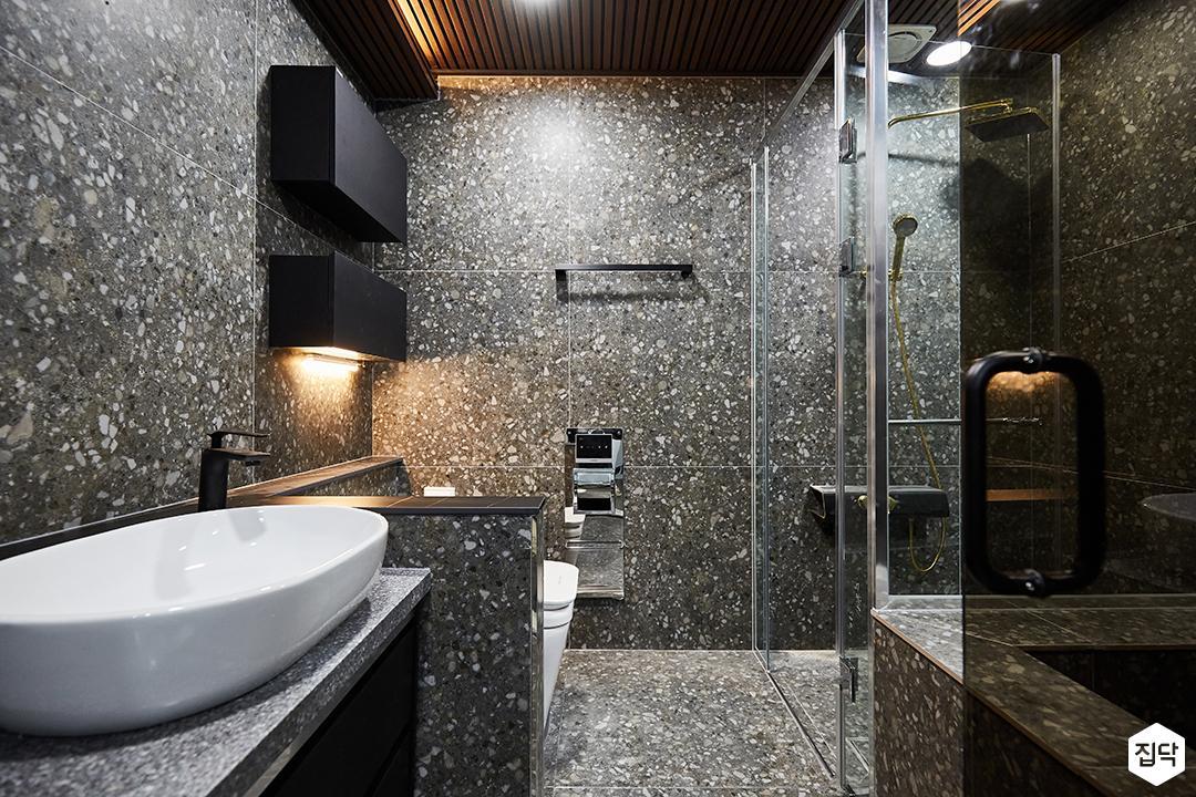 그레이,블랙,뉴클래식,욕실,대리석,패턴타일,선반,세면대