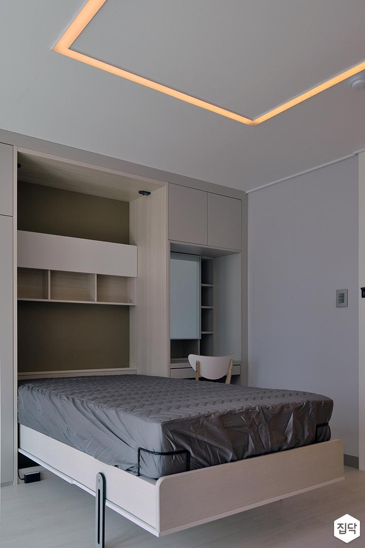 화이트,모던,방,원목마루,LED조명,빌트인,침대