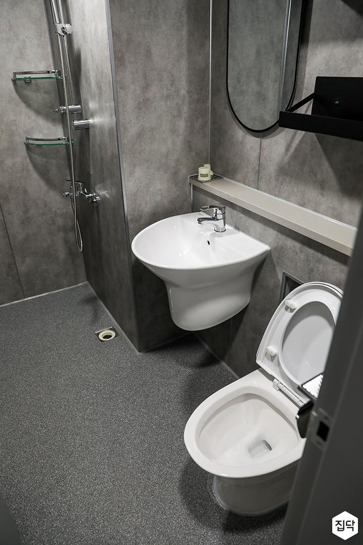 그레이,모던,욕실,포세린,매립등,세면대,수납장,거울,젠다이,샤워기,코너선반