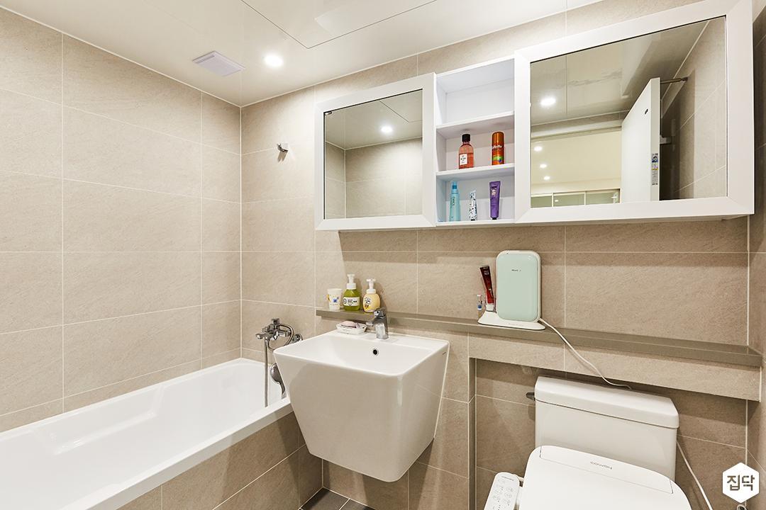 아이보리,미니멀,심플,욕실,포세린,매립등,수납장,세면대,욕조,거울