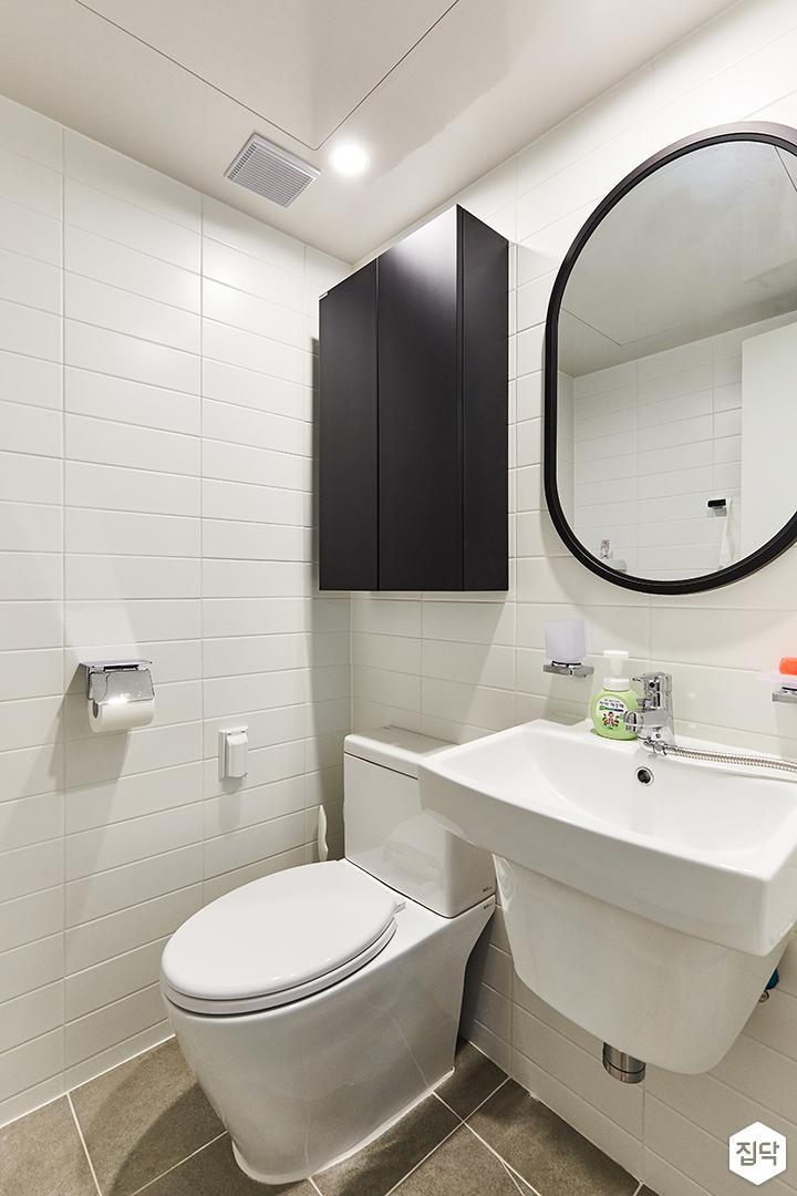 화이트,미니멀,심플,욕실,포세린,매립등,수납장,세면대,거울