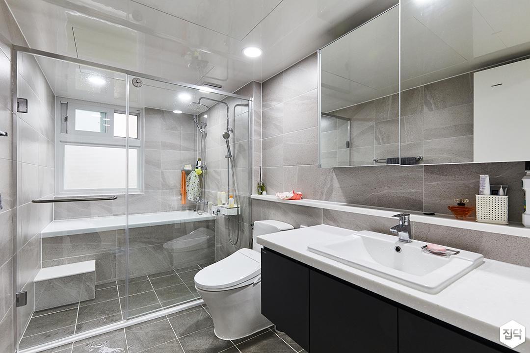 그레이,모던,욕실,포세린,매립등,수납장,파티션,세면대,욕조,거울