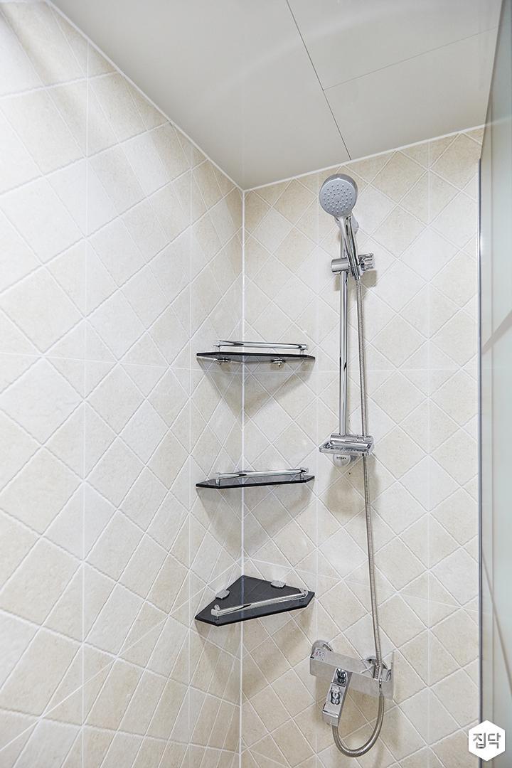 화이트,모던,심플,욕실,코너선반,샤워기