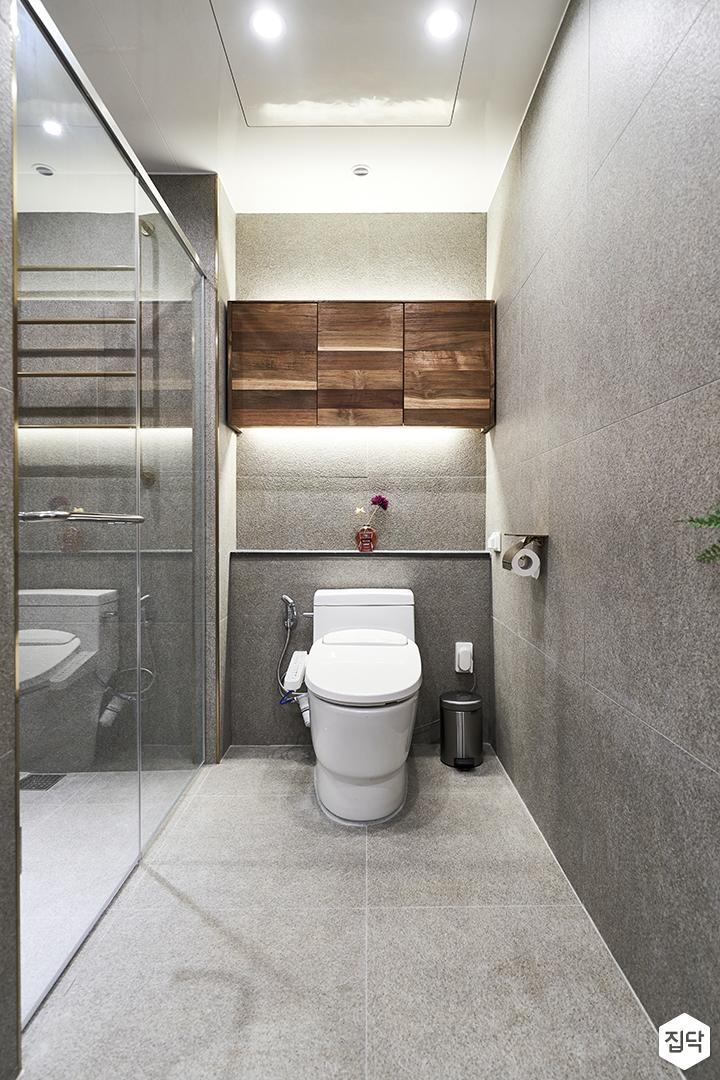 그레이,모던,욕실,포세린,다운라이트조명,간접조명,수납장