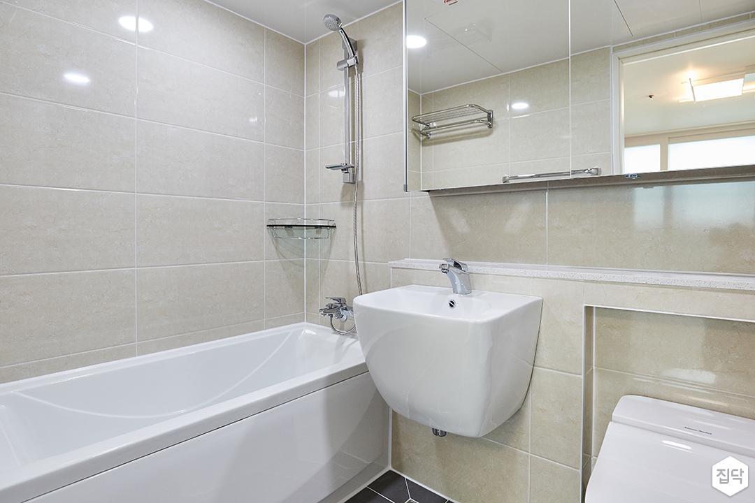 화이트,모던,심플,욕실,수납장,세면대,욕조,샤워기,거울