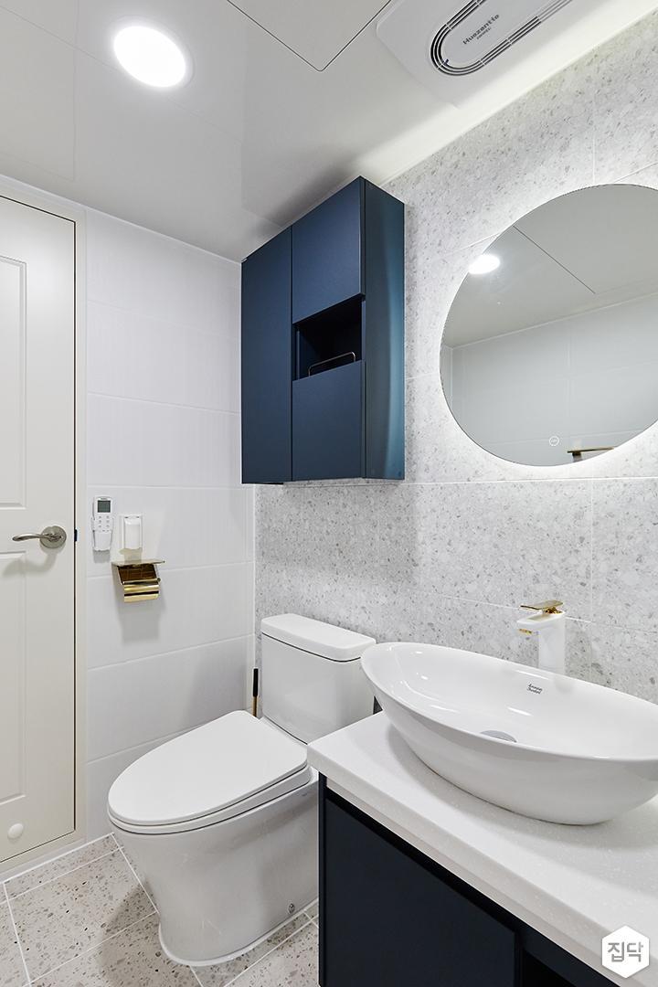화이트,블루,모던,심플,원형직부등,욕실,수납장,세면대,거울