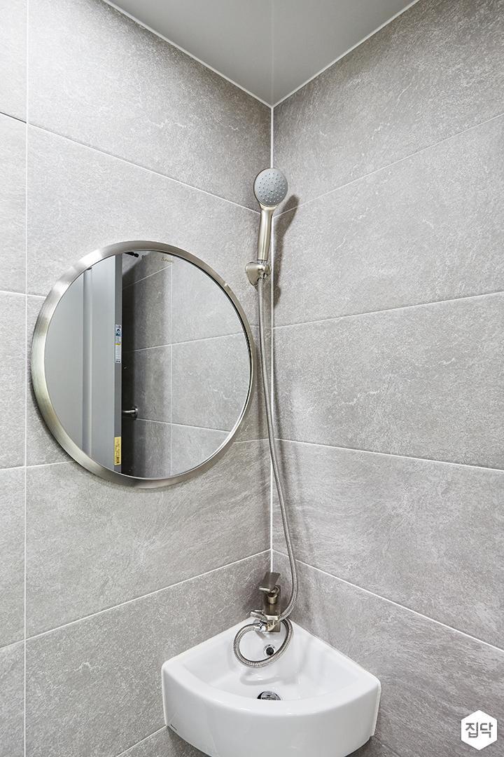 그레이,모던,심플,욕실,세면대,샤워기,거울