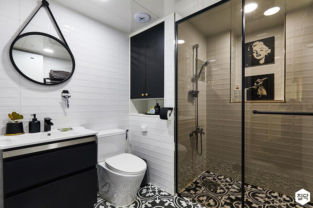 화이트,블랙,모던,빈티지,욕실,포세린,욕실타일,북유럽,수납장,파티션,세면대,샤워기,거울