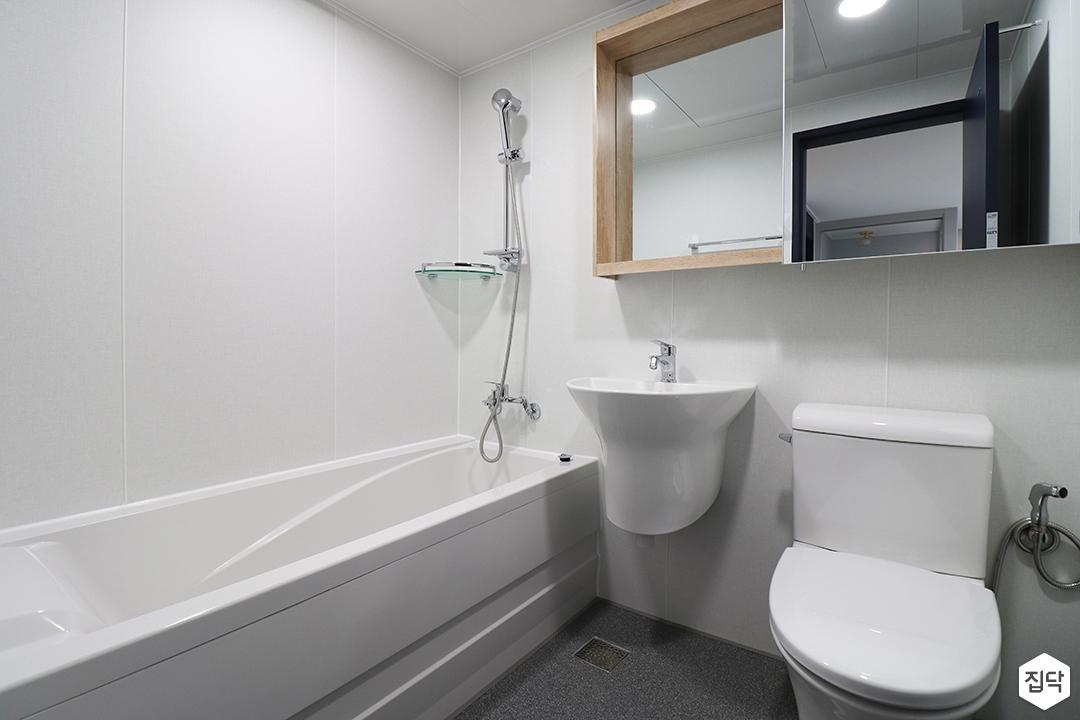 화이트,모던,심플,욕실,세면대,샤워기,욕조,코너선반