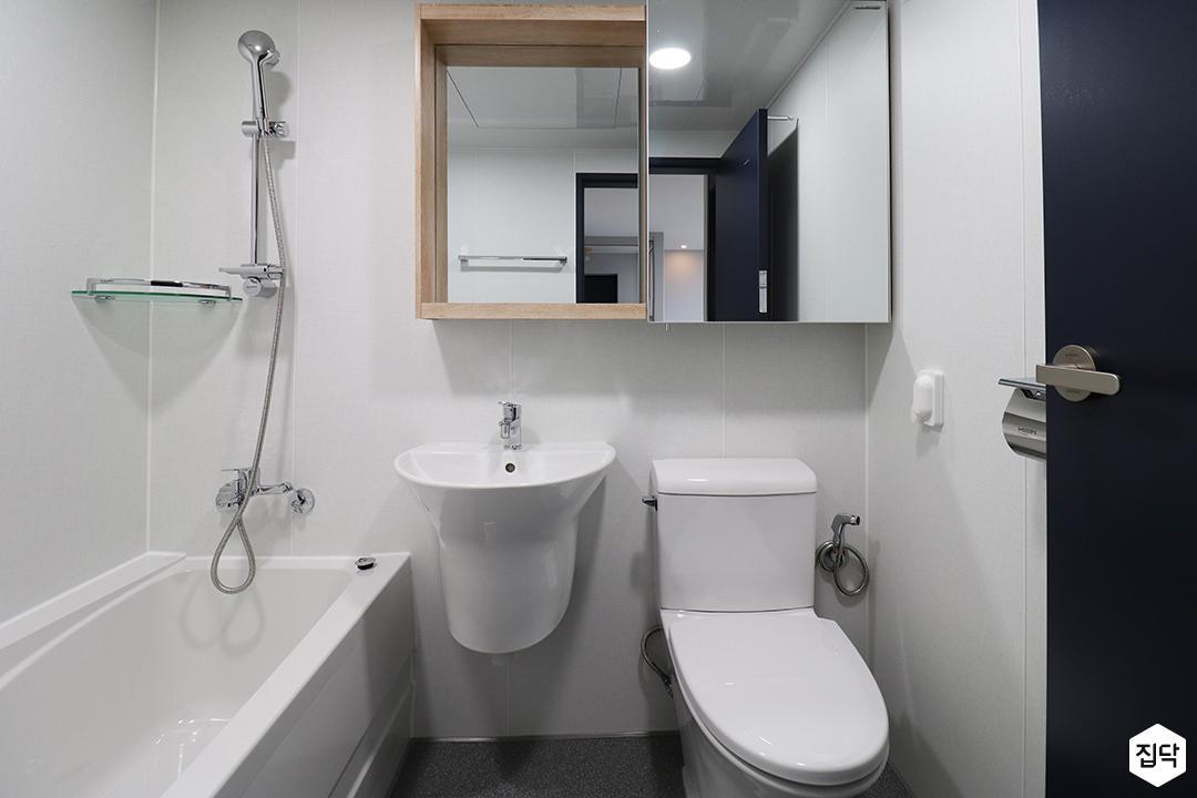 화이트,모던,심플,세면대,샤워기,욕실,욕조,코너선반