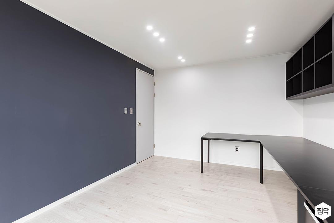 화이트,블루,모던,방,책상
