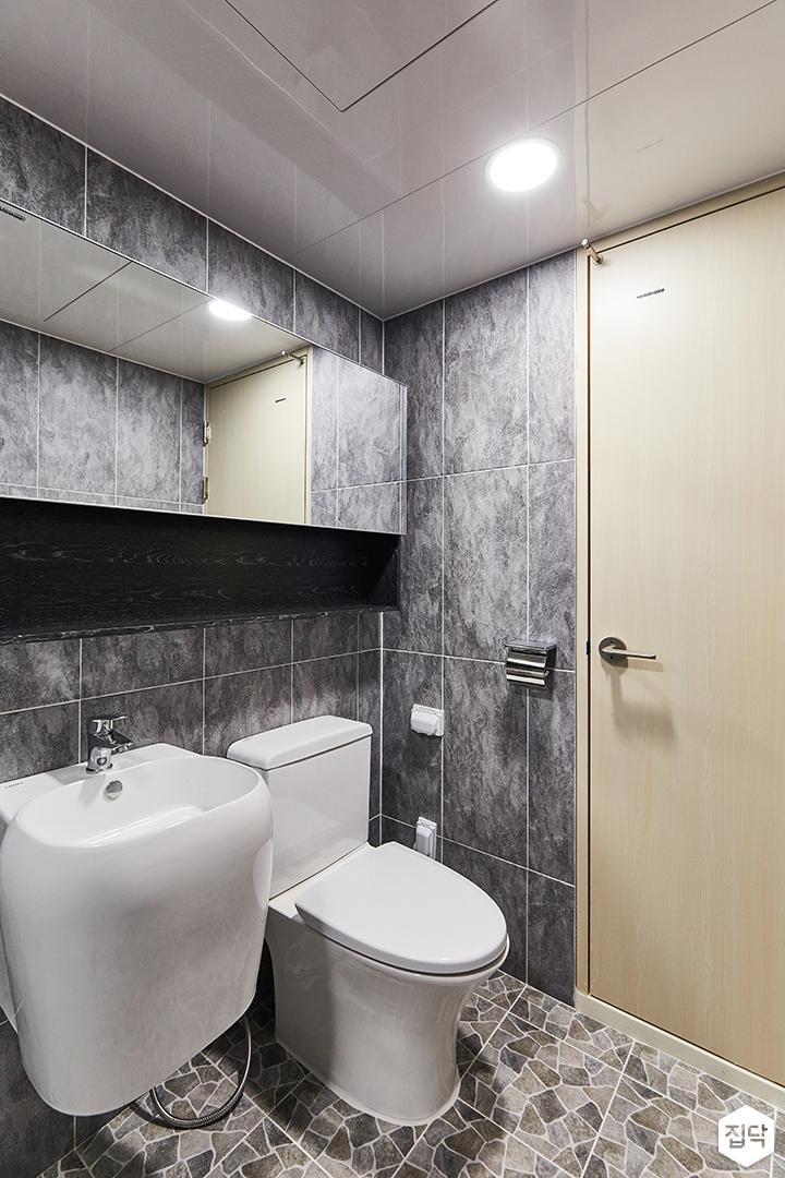 그레이,모던,미니멀,심플,욕실,포세린,욕실타일,매립등,수납장,파티션,세면대,샤워기,거울