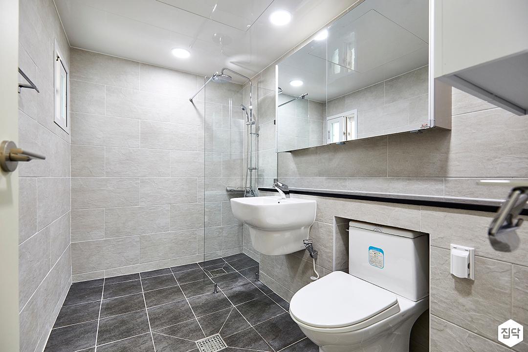 그레이,모던,욕실,세면대,거울,파티션