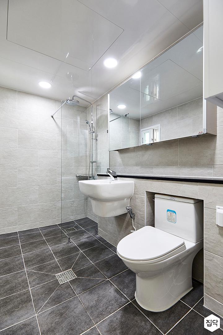 그레이,모던,욕실,세면대,거울