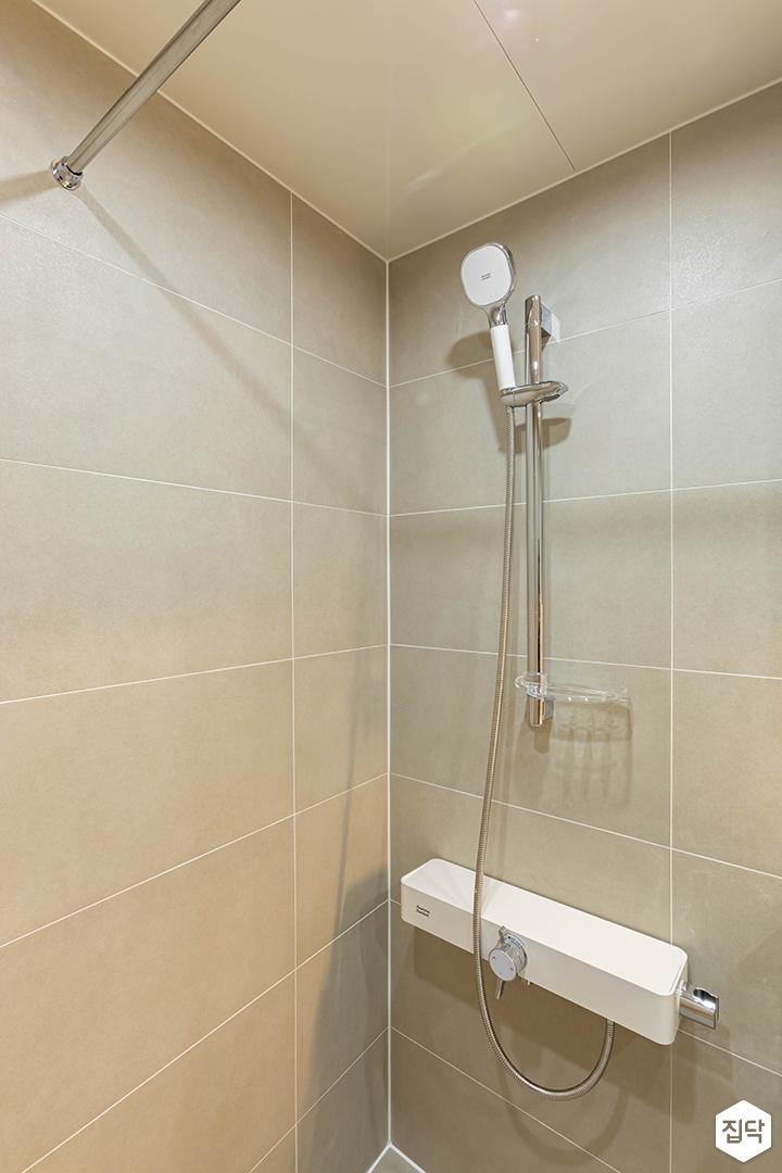 아이보리,모던,욕실,포세린,샤워기