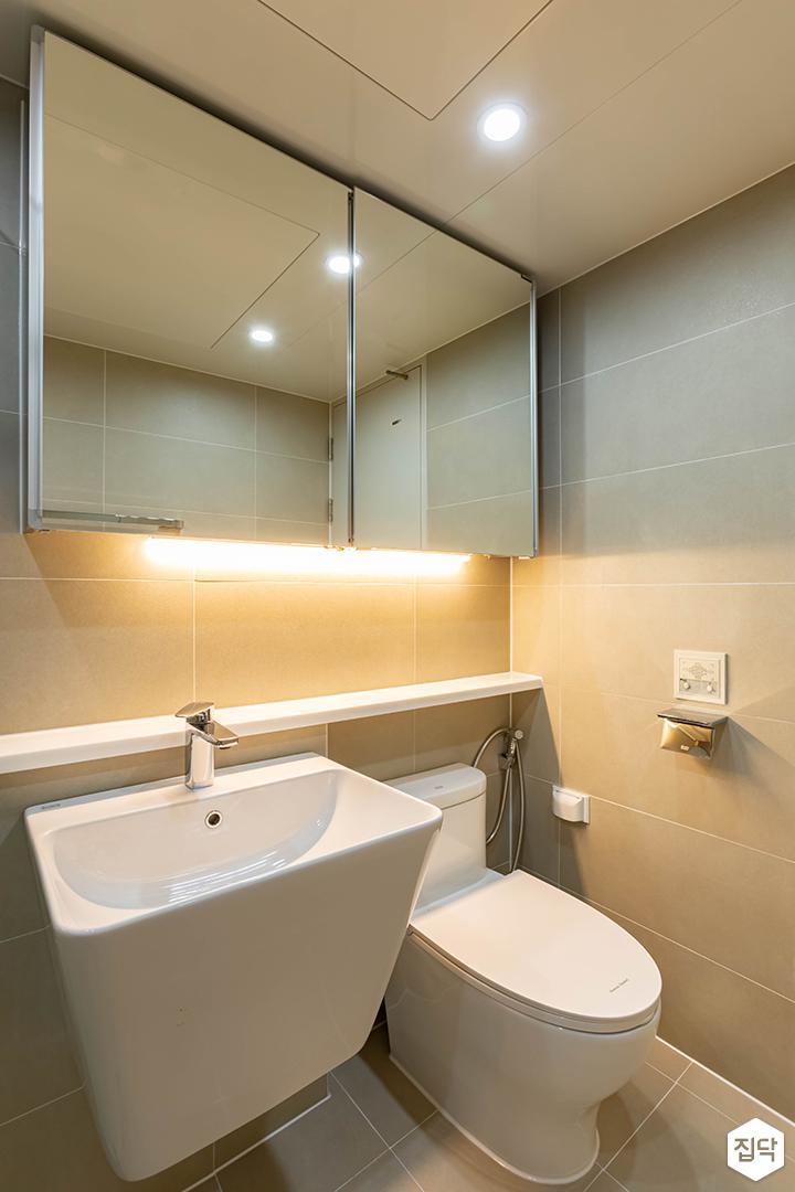 아이보리,모던,욕실,포세린,간접조명,다운라이트조명,세면대,거울