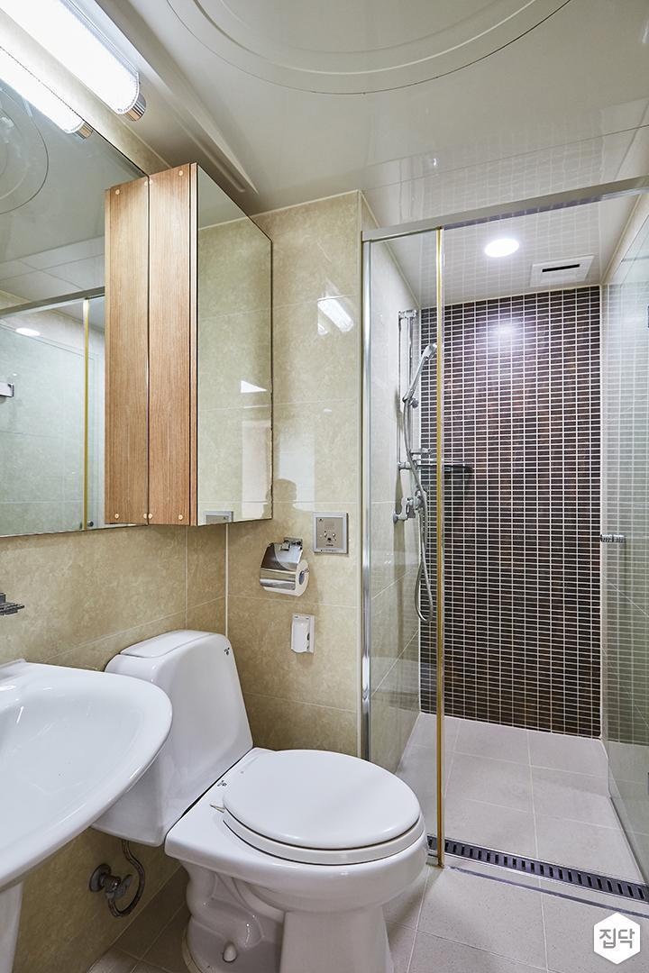 그레이,모던,심플,욕실,모자이크타일,포세린,원형직부등,수납장,파티션,세면대,샤워기,거울