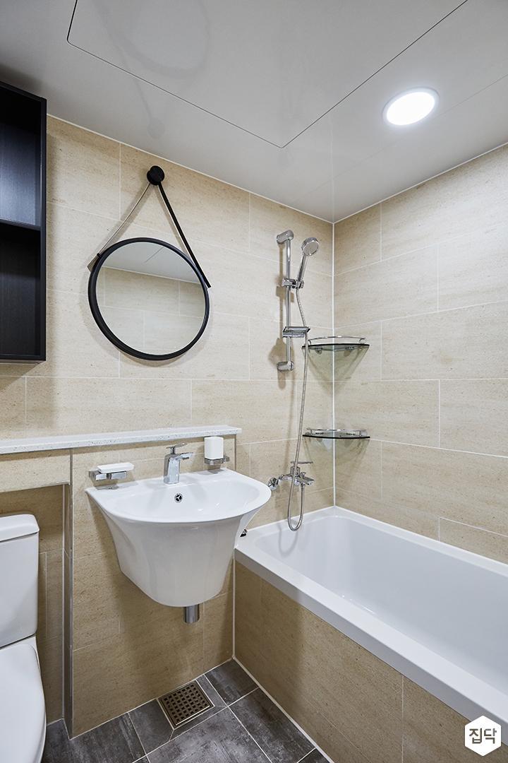아이보리,모던,심플,욕실,원형직부등,세면대,욕조,코너선반,샤워기,거울