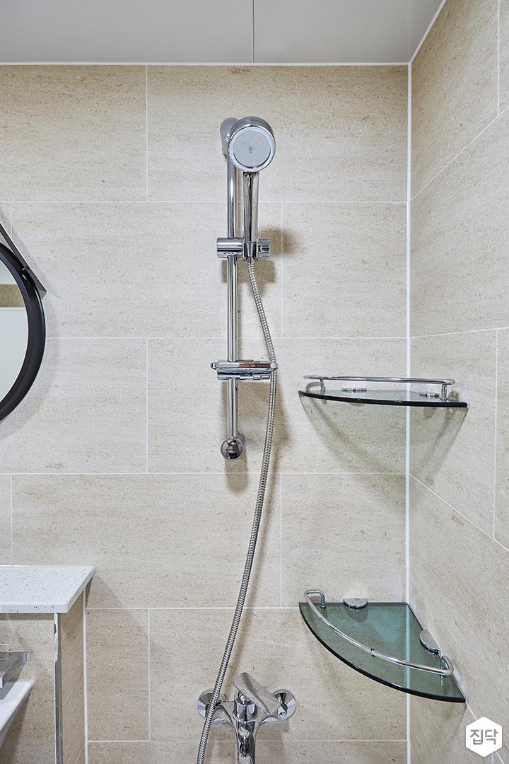 아이보리,모던,심플,욕실,코너선반,샤워기