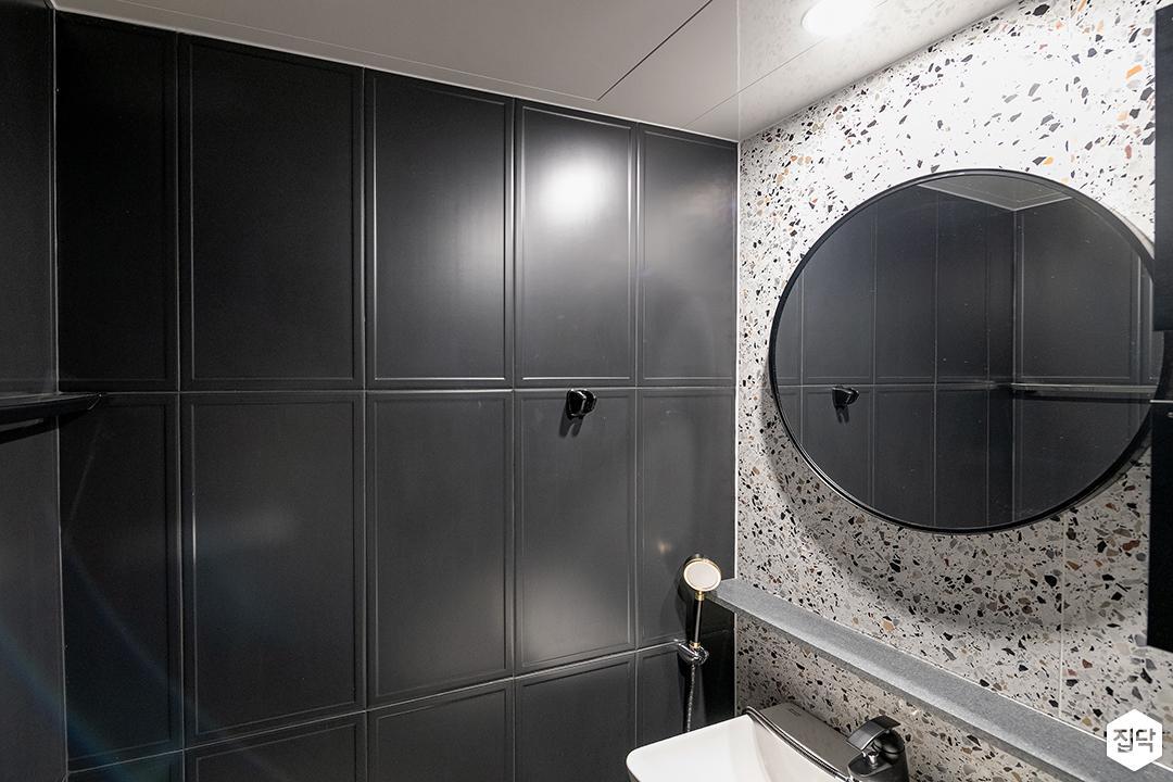 그레이,블랙,모던,욕실,패턴타일,테라조,거울