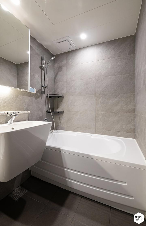 그레이,모던,욕실,다운라이트조명,세면대,욕조,거울