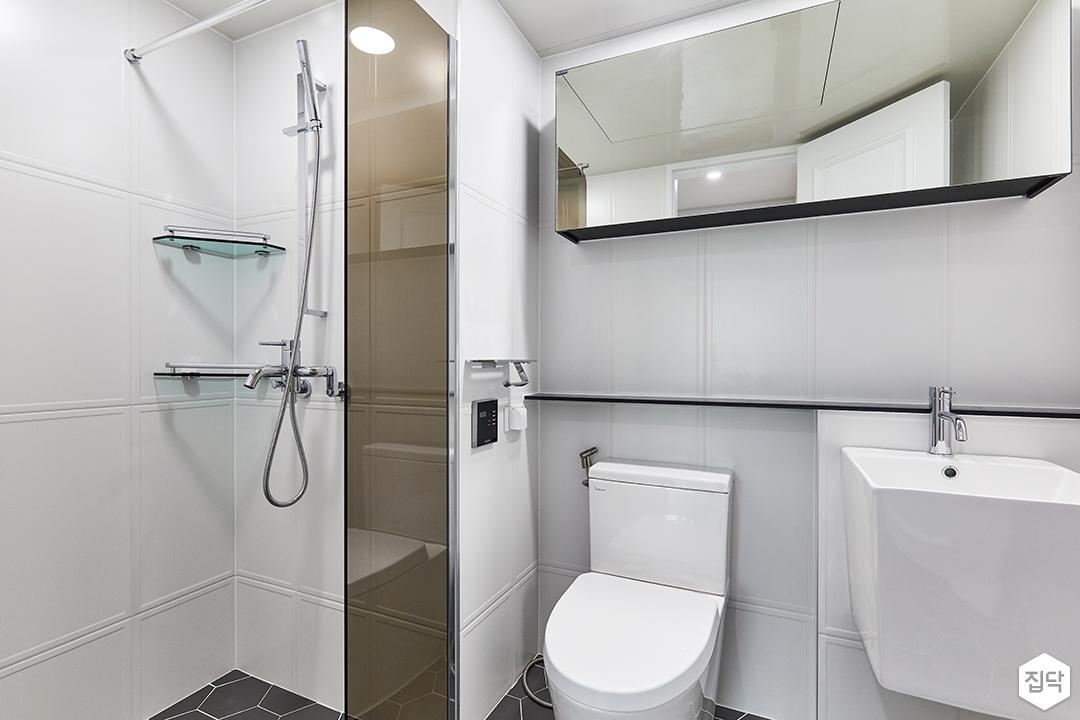 화이트,블랙,모던,내추럴,욕실,포세린,욕실타일,수납장,유리파티션,세면대,거울