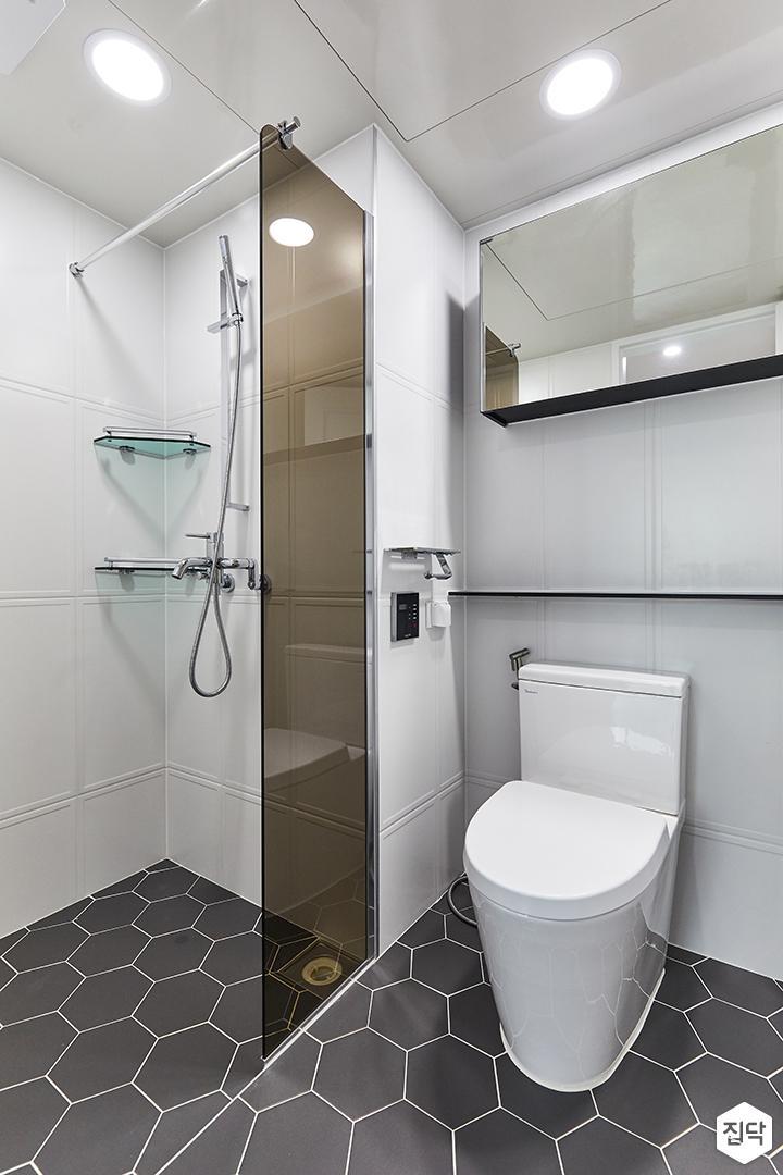 화이트,블랙,모던,내추럴,욕실,포세린,욕실타일,헥사곤,수납장,유리파티션,거울