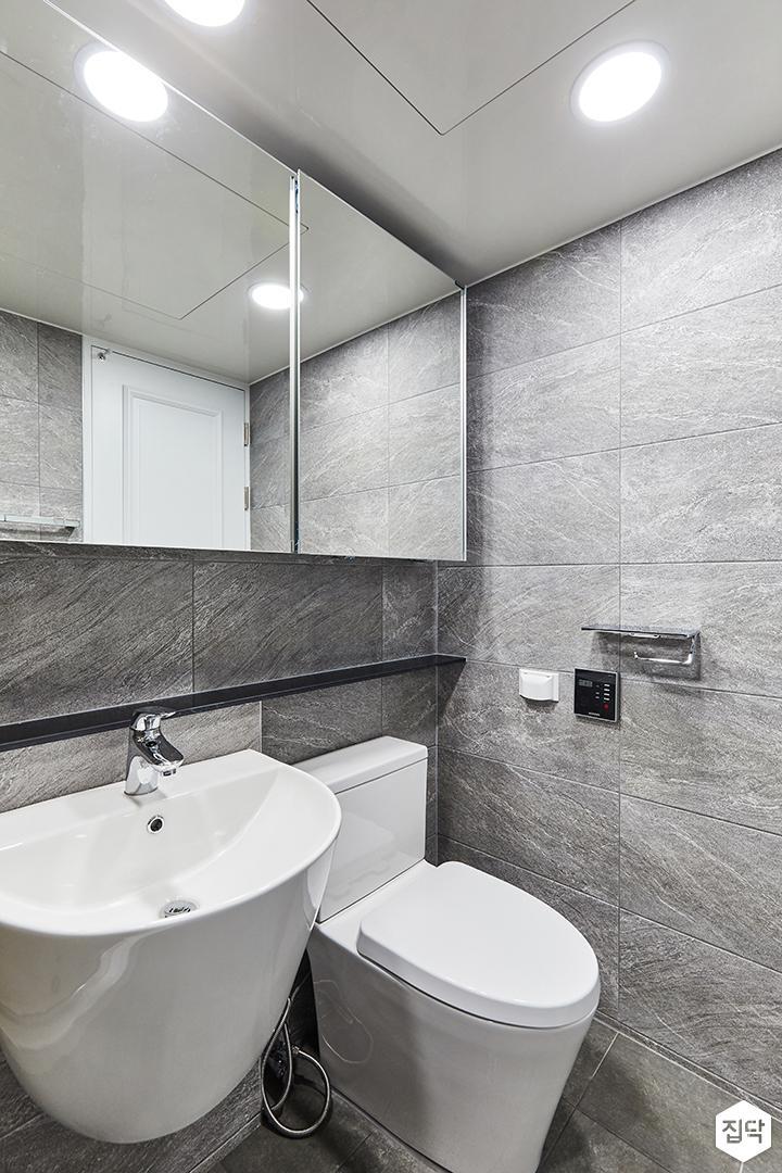 그레이,모던,빈티지,욕실,포세린,욕실타일,수납장,세면대,거울