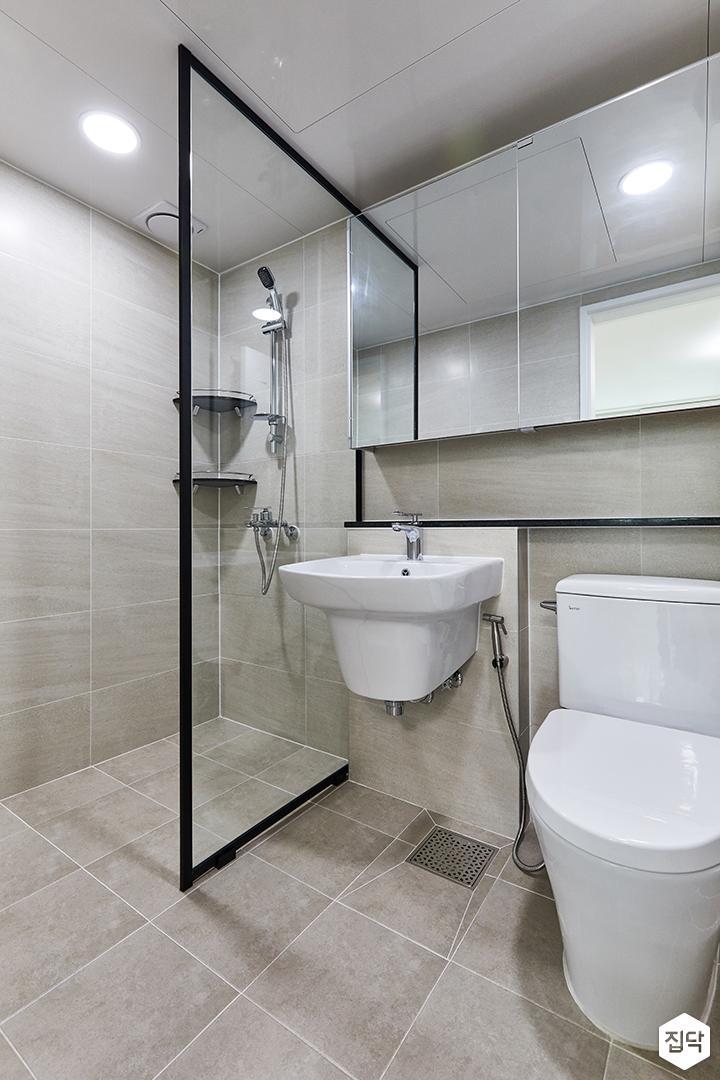 블랙,아이보리,모던,내추럴,욕실,포세린,매립등,수납장,유리파티션,세면대,샤워기,거울