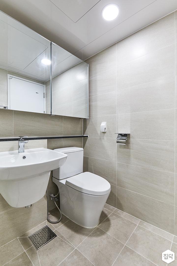 아이보리,모던,내추럴,욕실,포세린,매립등,수납장,세면대,거울