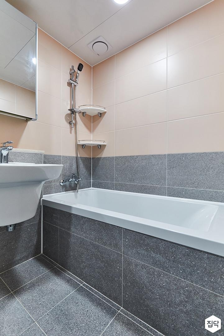 그레이,핑크,내추럴,뉴클래식,욕실,포세린,욕조,샤워기