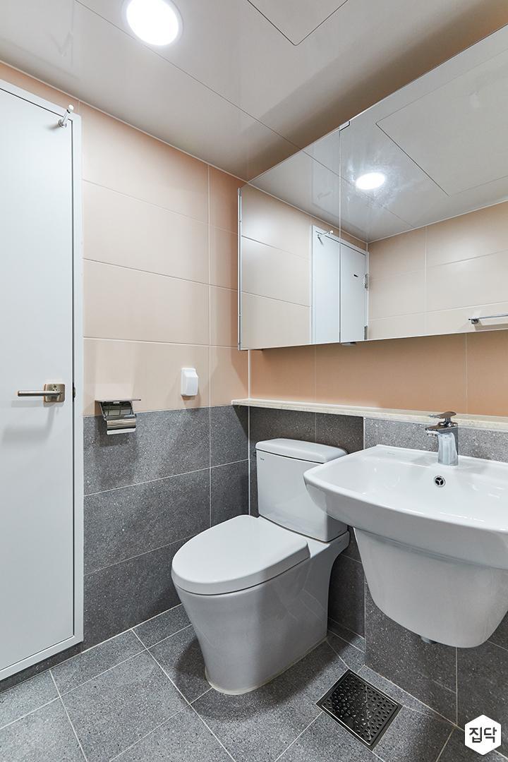 그레이,핑크,내추럴,뉴클래식,욕실,포세린,매립등,수납장,세면대,거울