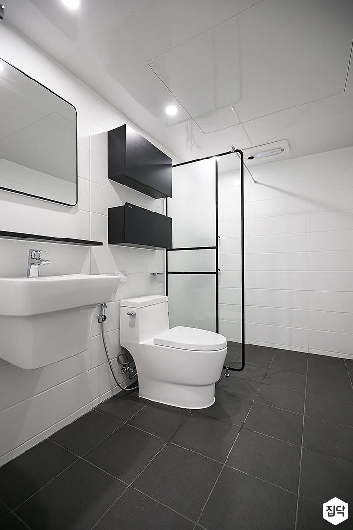 화이트,블랙,모던,욕실,유리파티션,세면대