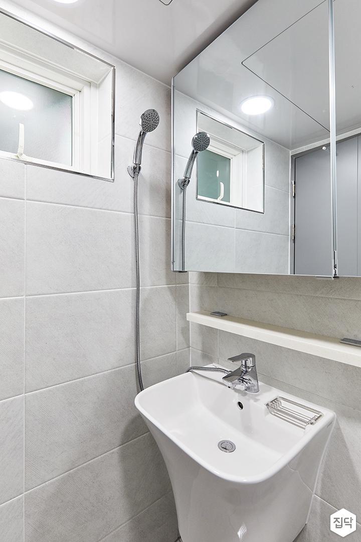 화이트,미니멀,심플,욕실,세면대,수납장,거울