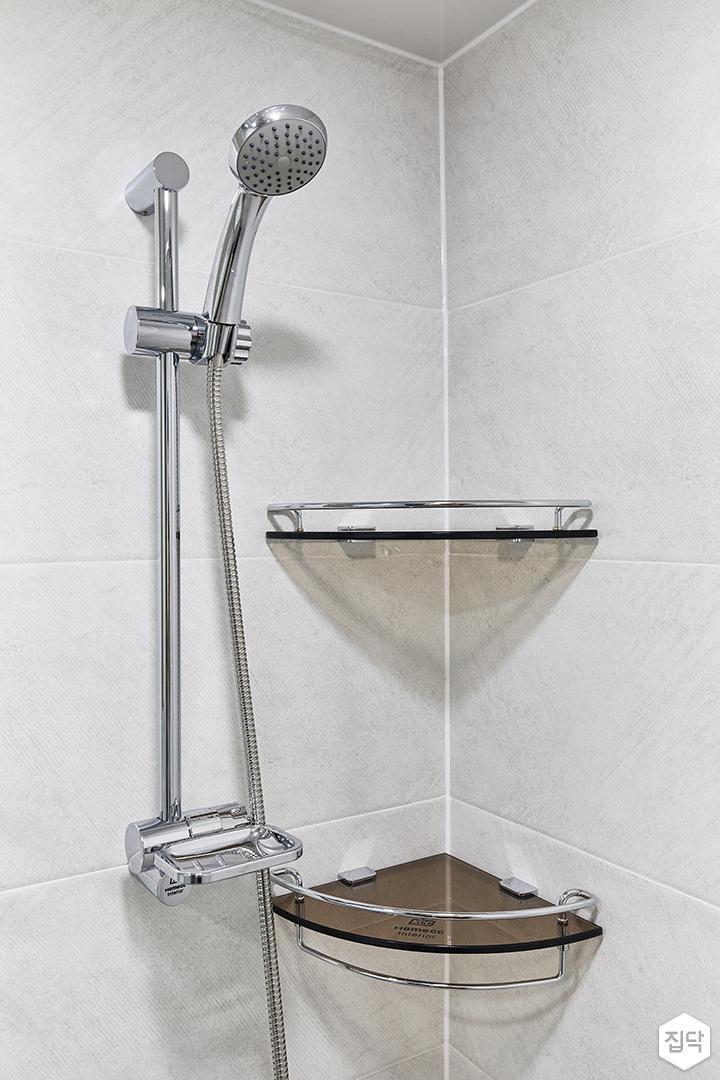 화이트,미니멀,심플,욕실,포세린,샤워기,코너선반