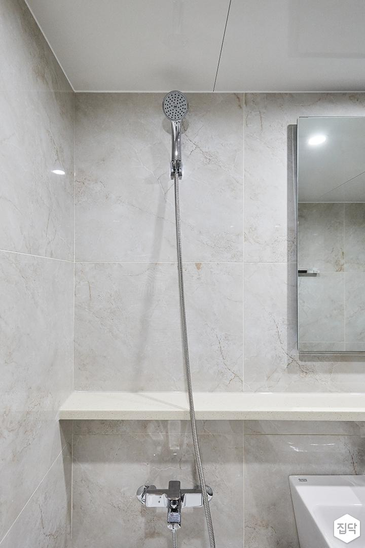 아이보리,그레이,모던,심플,욕실,샤워기