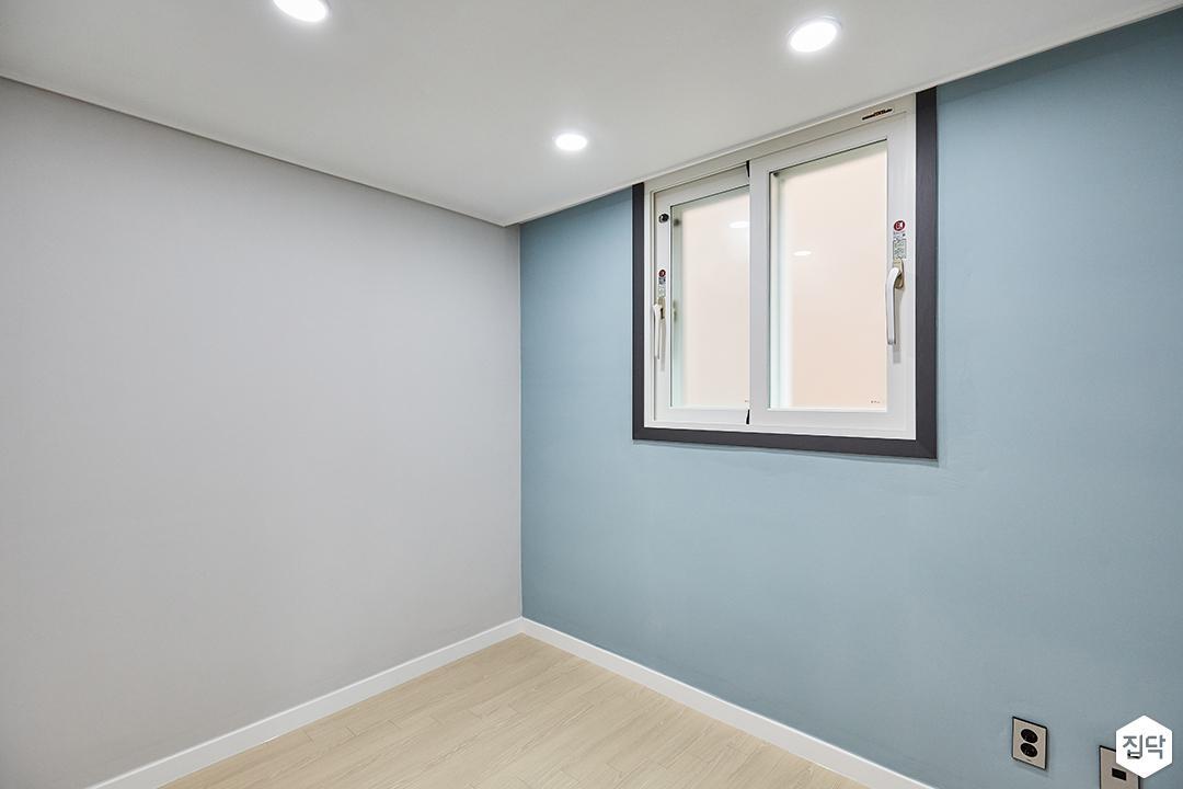 블루,모던,심플,방,원목마루,매립등,다운라이트조명