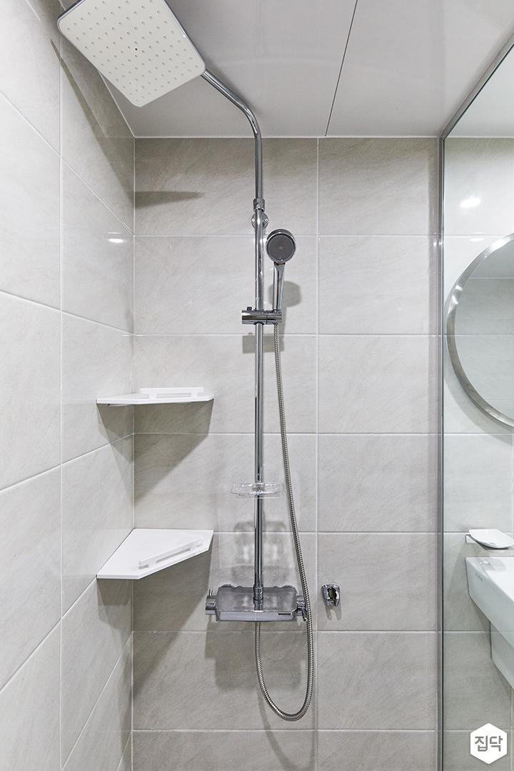 화이트,아이보리,모던,욕실,폴리싱,유리파티션,샤워기