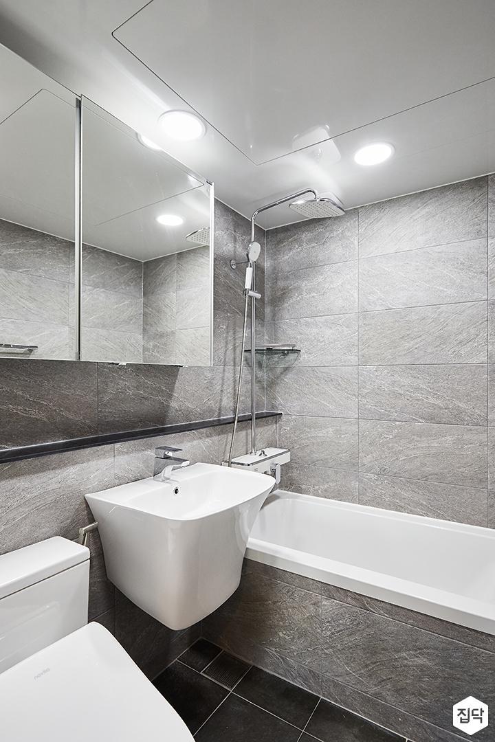 그레이,모던,심플,욕실,포세린,욕실타일,원형직부등,수납장,세면대,욕조,샤워기,코너선반,거울