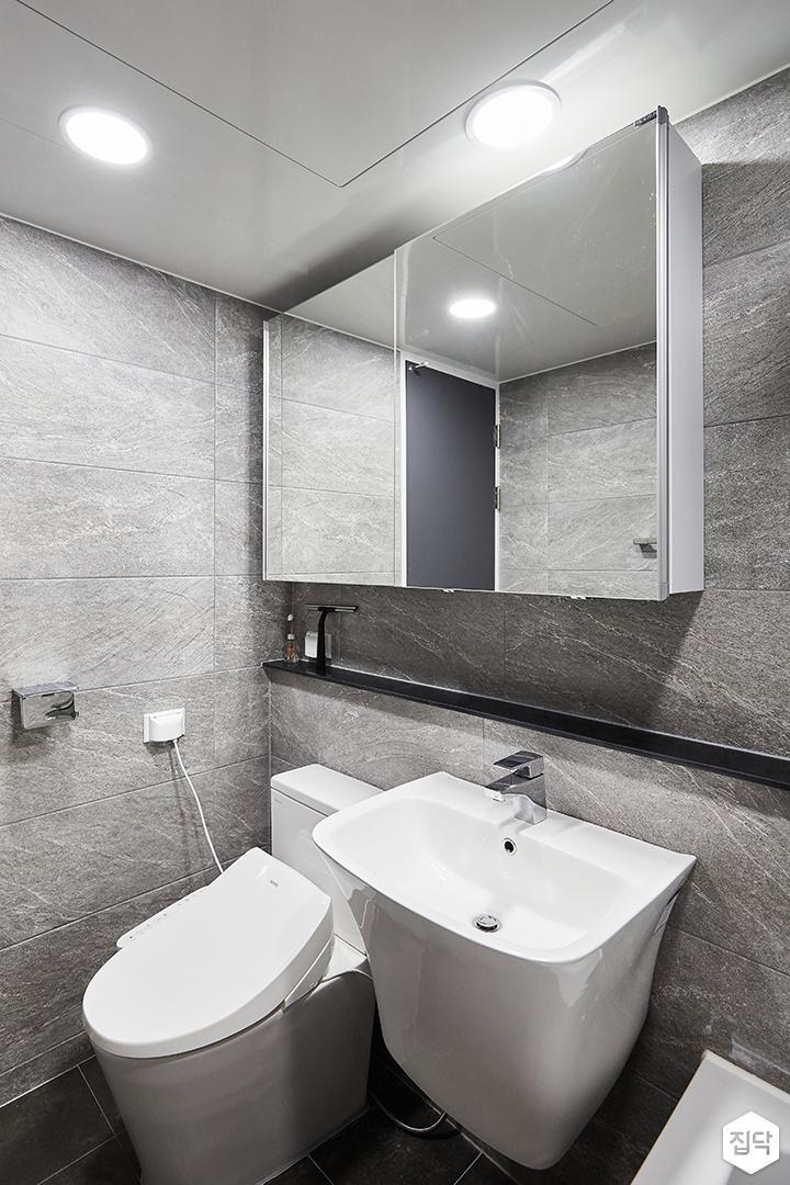 그레이,모던,심플,욕실,포세린,욕실타일,원형직부등,수납장,세면대,거울
