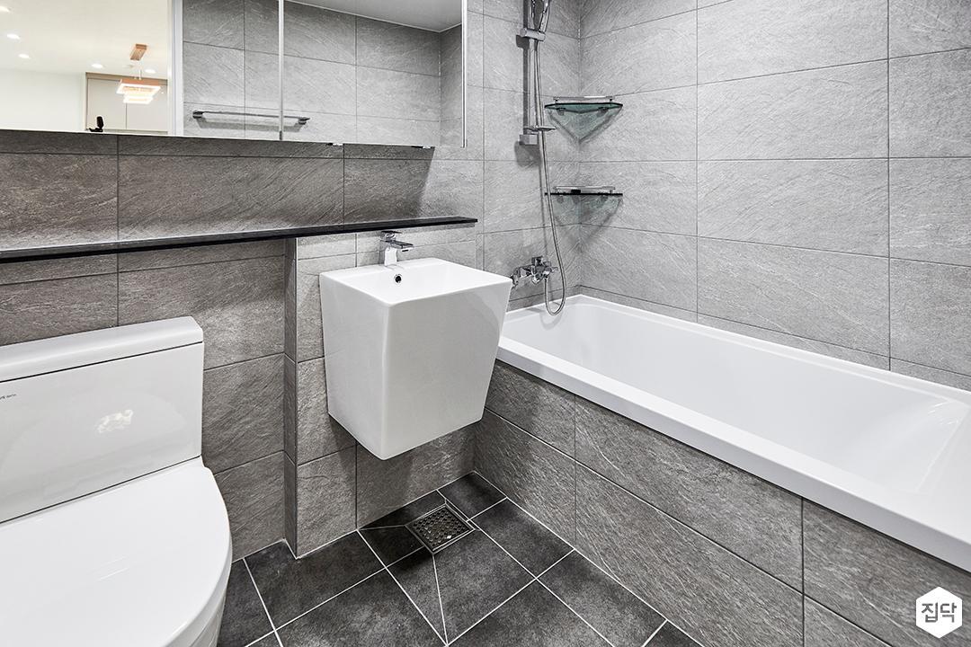 그레이,모던,욕실,세면대,욕조,샤워기
