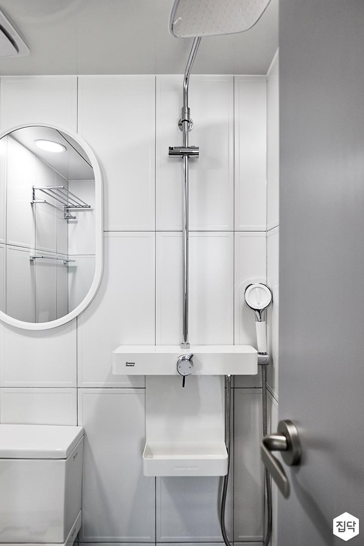 화이트,모던,욕실,샤워기,거울