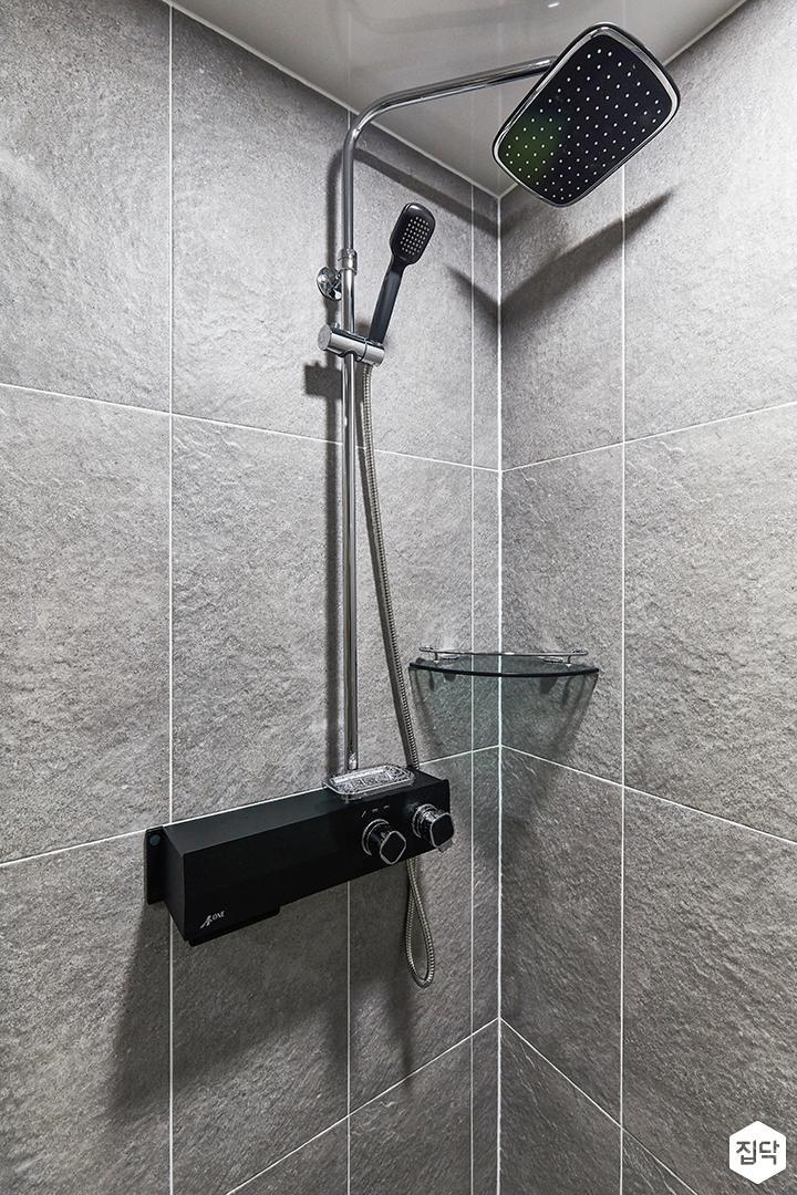 그레이,블랙,모던,빈티지,욕실,포세린,샤워기,코너선반