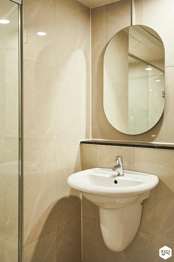 아이보리,내추럴,욕실,세면대,거울