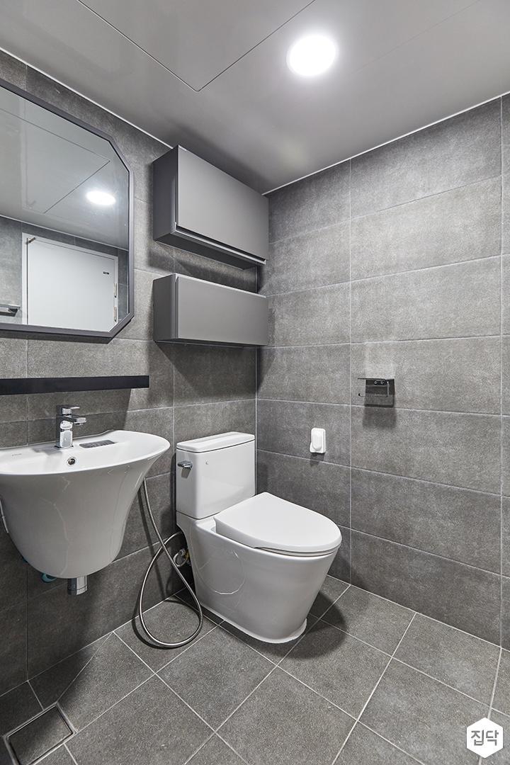 그레이,모던,빈티지,욕실,포세린,매립등,수납장,세면대,거울