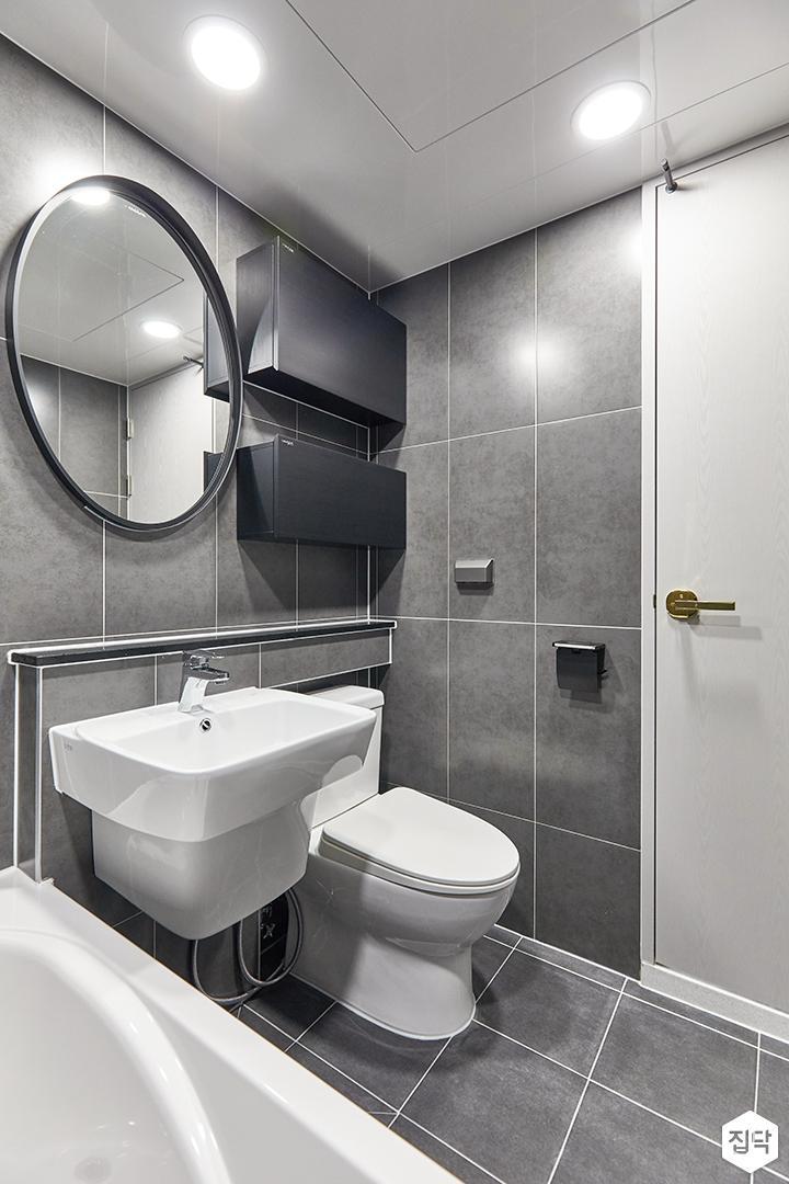 그레이,블랙,모던,욕실,포세린,매립등,수납장,세면대