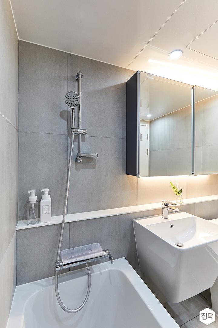 화이트,그레이,모던,내추럴,욕실,포세린,욕조,샤워기