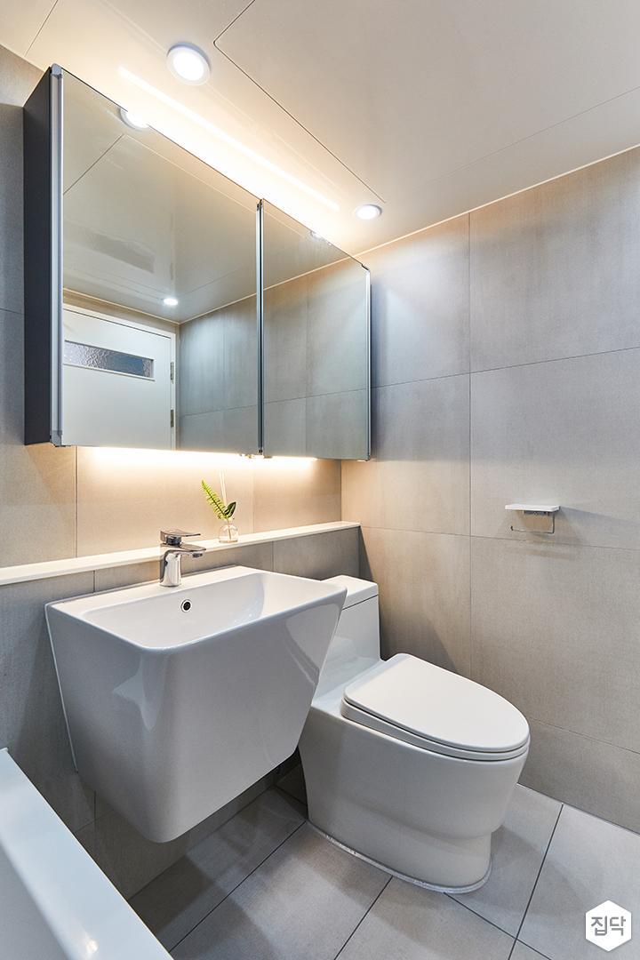 화이트,그레이,모던,내추럴,욕실,포세린,매립등,간접조명,수납장,세면대,거울